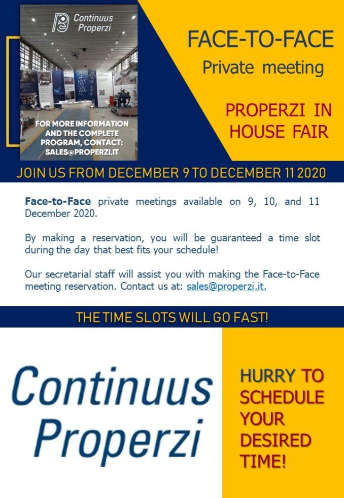 Properzi In House Fair Face2Face Booking