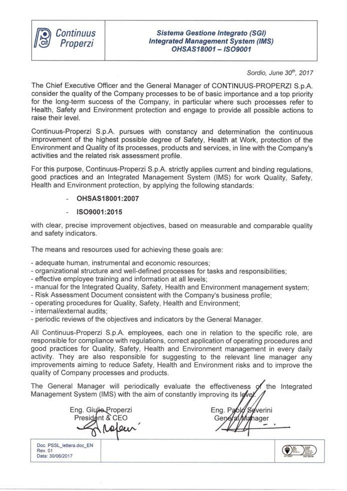 SGI QSSLA COMPANY POLICY